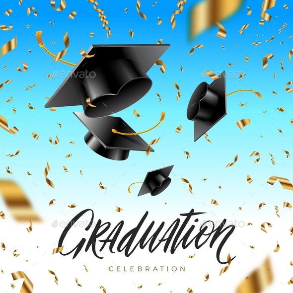 Graduation Cap Thrown up and Golden Foil Confetti - Miscellaneous Conceptual