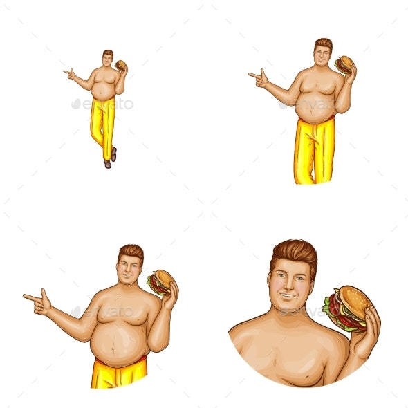 Vector Avatar of Obese Man with Hamburger - People Characters
