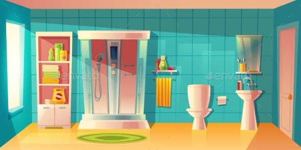 Vector Bathroom Interior - Backgrounds Decorative