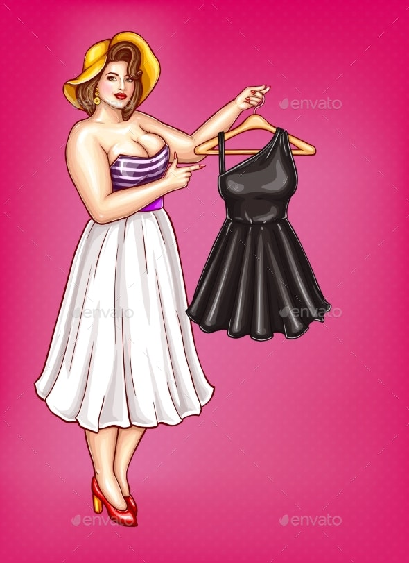 Vector Pop Art Obese Woman Holds Hanger with Dress - People Characters
