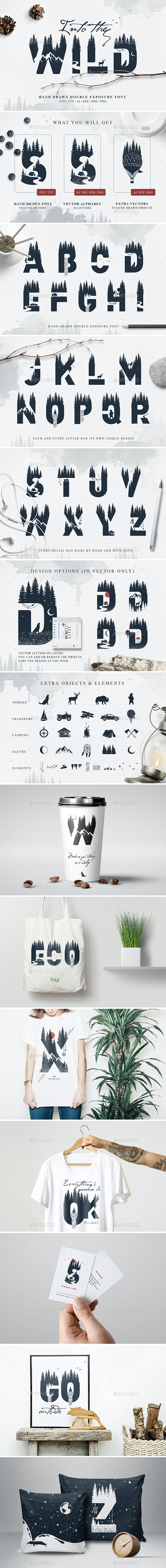 Into The Wild - Double Exposure Font - Miscellaneous Graphics