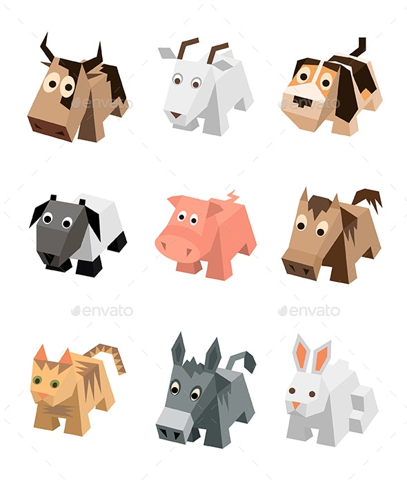 Vector Set of Isometric Animals - Animals Characters