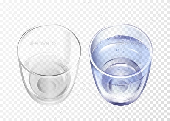 Vector Water Cup Set - Food Objects