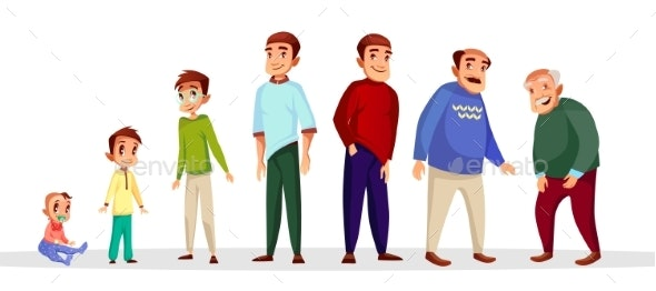 Vector Cartoon Growth and Aging Process Concept - People Characters
