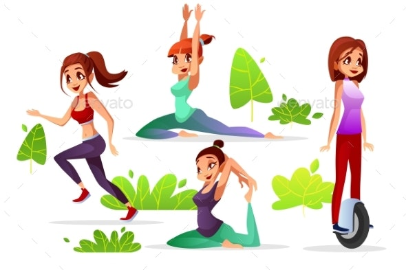 Girl Woman Leisure in Park Vector Illustration - People Characters