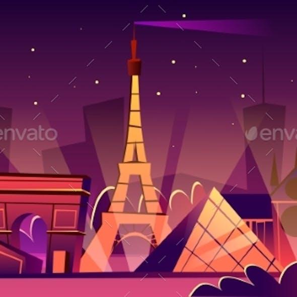 Paris Night Cityscape Vector Cartoon Illustration