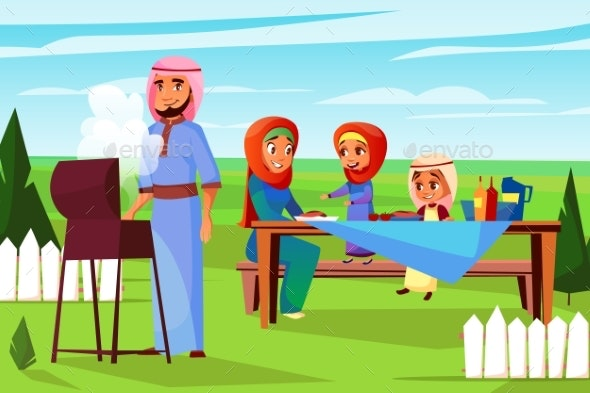 Arabian Family Barbecue Picnic Vector Illustration - People Characters