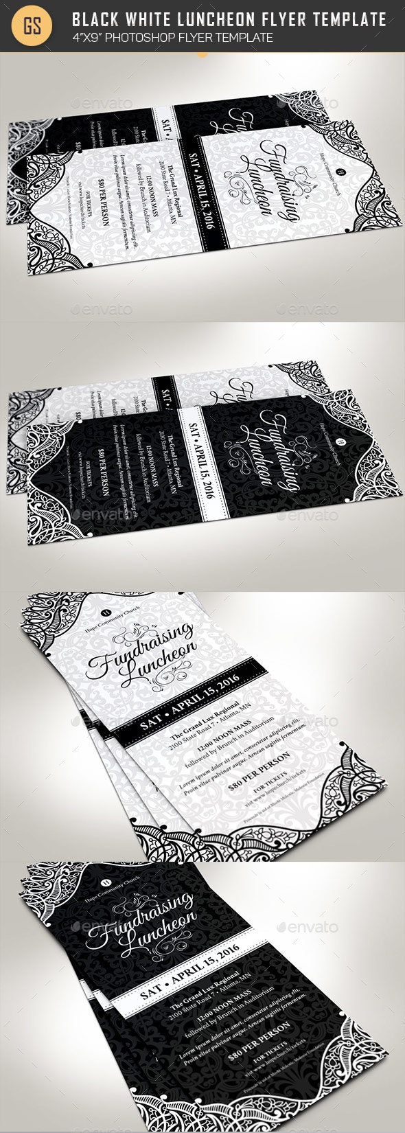 Black White Luncheon Flyer Template - Events Flyers