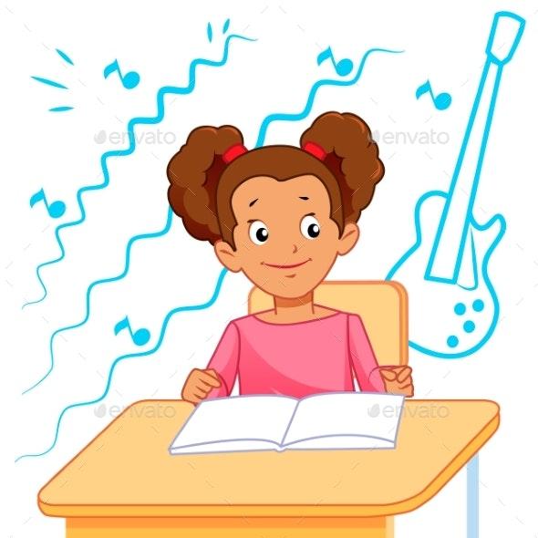 School Child in Classroom - Miscellaneous Vectors