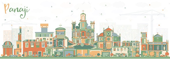 Panaji India City Skyline with Color Buildings - Buildings Objects