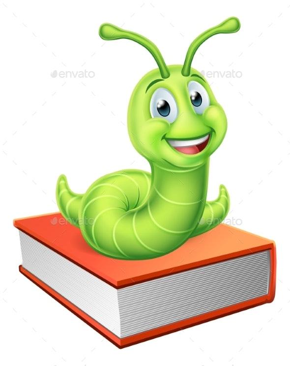Bookworm Caterpillar Worm on Book - Miscellaneous Vectors
