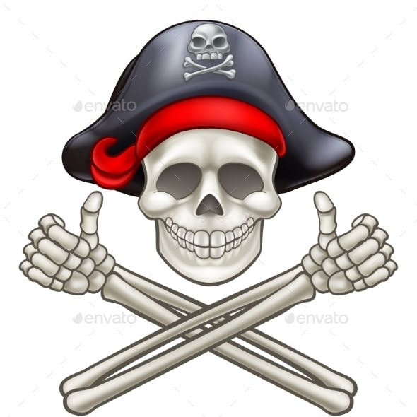 Pirate Skull and Cross Bones Cartoon