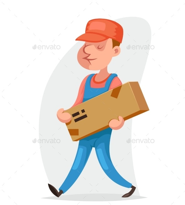 Deliveryman Cargo Freight Box Delivery Shipment - People Characters