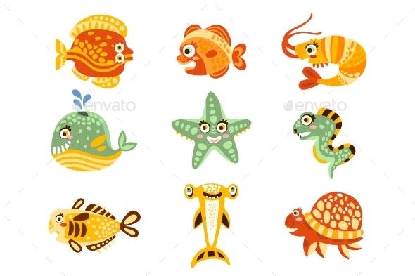 Cartoon Underwater World with Fish, Plants, Marine - Objects Vectors