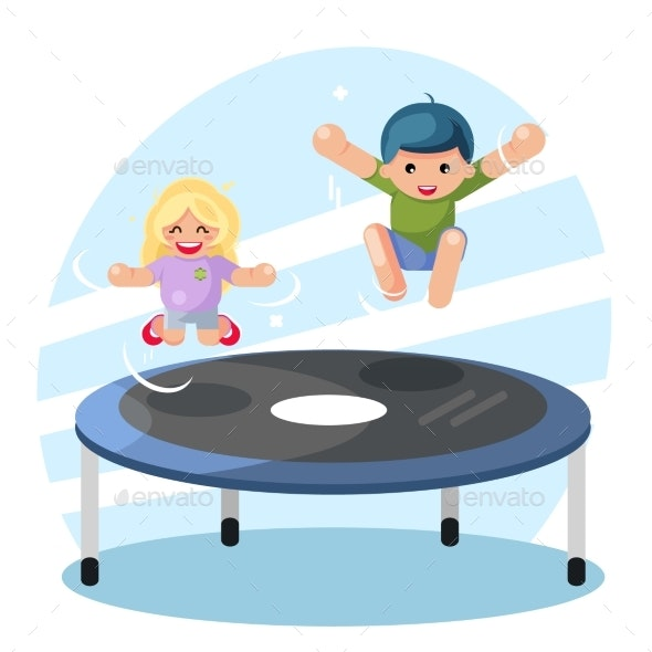 Children Jumping on Trampoline - People Characters