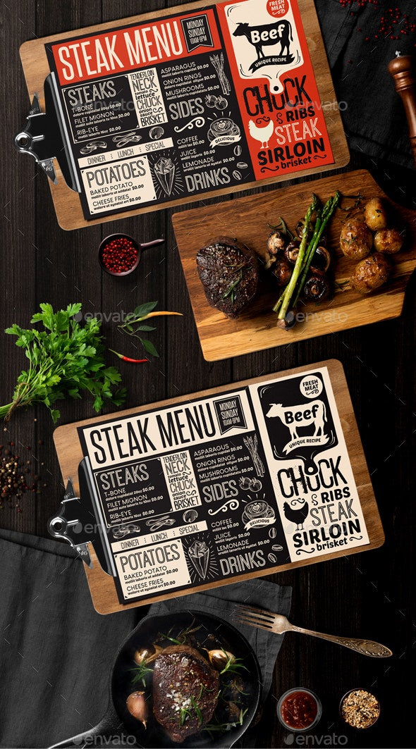 Steak Food Menu - Food Menus Print Templates