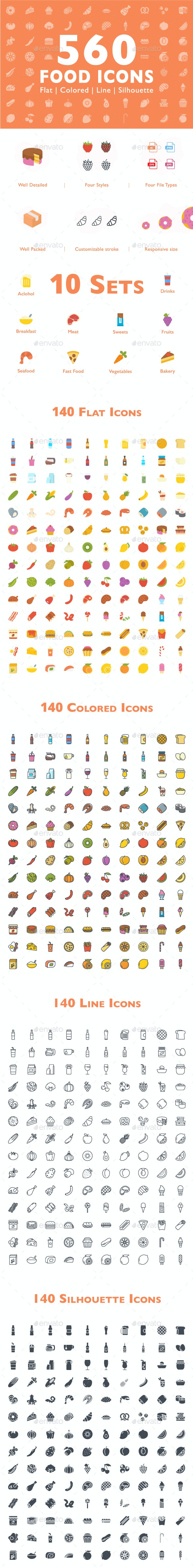 560 Food Icons - Food Objects