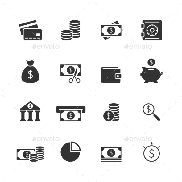 Finance Blak Icons Set - Business Icons