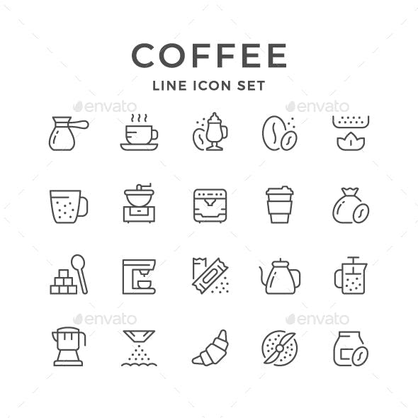 Set Line Icons of Coffee