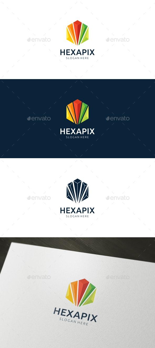 Hexagon Pixel Logo - Abstract Logo Templates