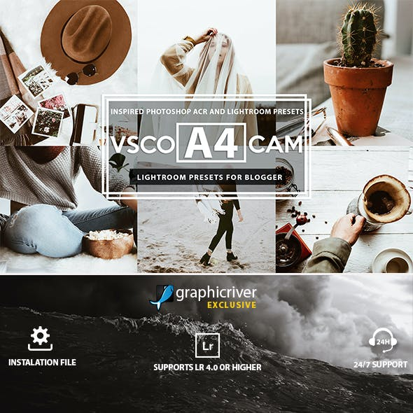 A4 Vsco Cam Inspired for Blogger Lightroom Presets