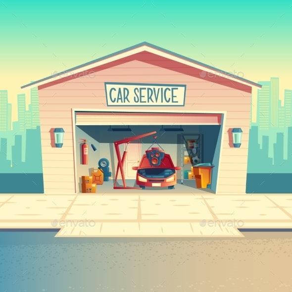 Vector Cartoon Mechanic Workshop with Car - Buildings Objects
