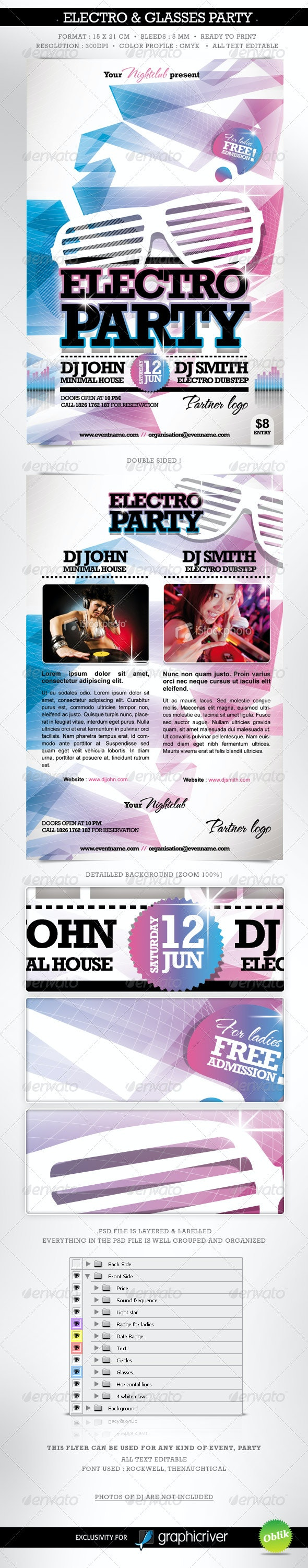 Electro & Fashion Glasses Flyer Double Sided - Clubs & Parties Events