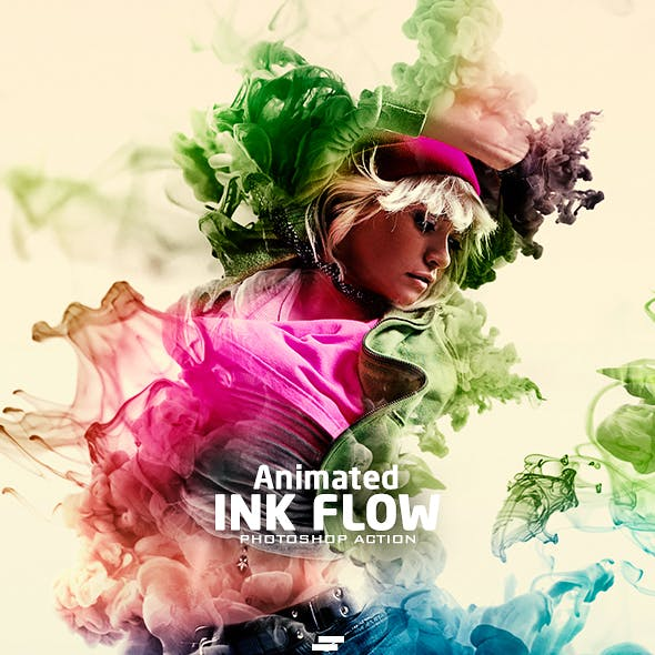 Gif Animated Ink Flow Photoshop Action