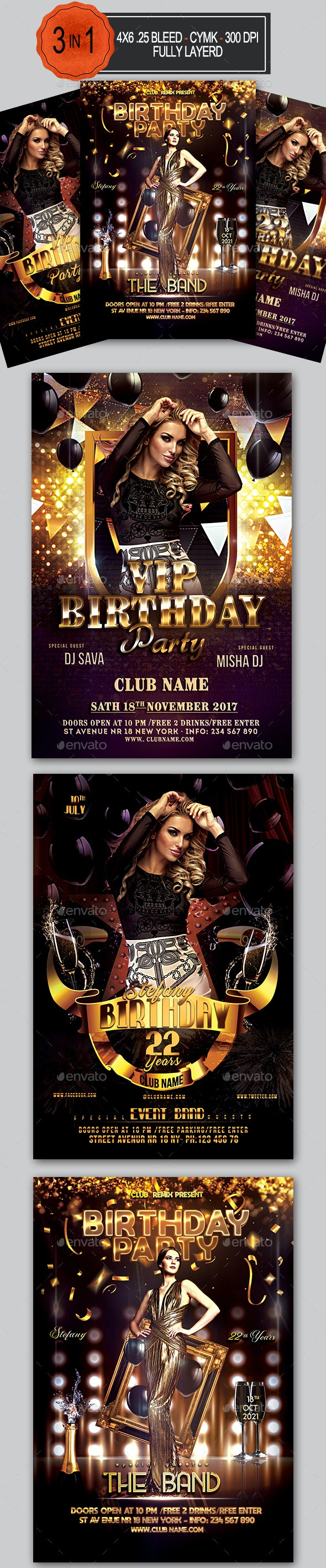 Birthday Flyer Bundle - Clubs & Parties Events