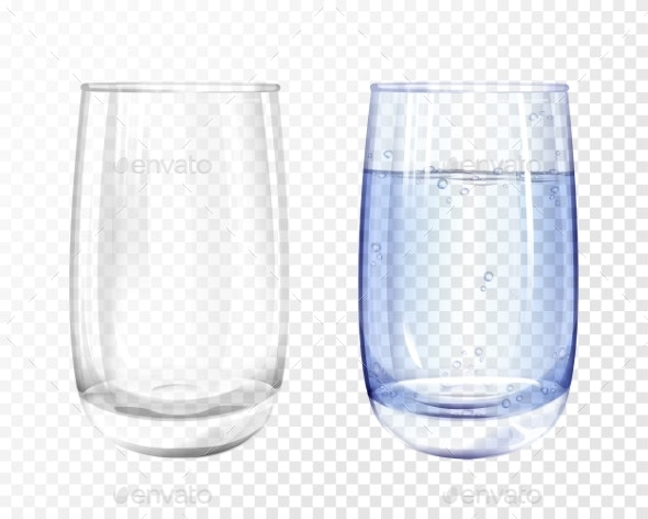 Vectpr Realistic Empty Glass and Water Cup Set - Food Objects