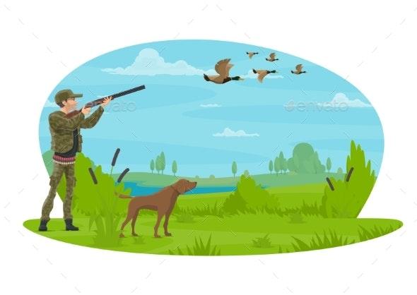 Hunt for Ducks Vector Poster Design - Sports/Activity Conceptual