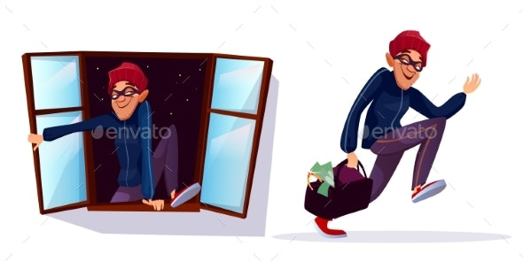 Vector Cartoon Robber - People Characters