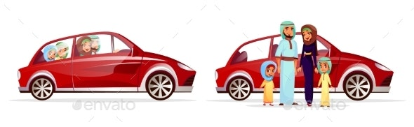 Arabian Family in Car Vector Illustration - People Characters