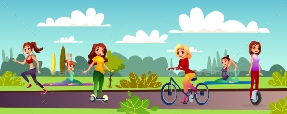 Girls Leisure in Park Vector Illustration - People Characters