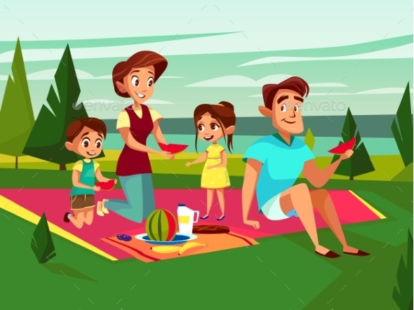 Vector Cartoon Family at Picnic Party - People Characters