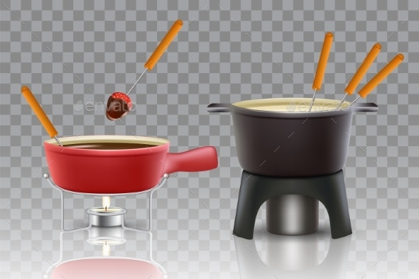 Cheese Chocolate Fondue Vector Realistic Icon Set - Food Objects