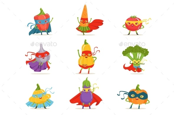 Superhero Vegetables in Masks and Capes Set - Miscellaneous Characters
