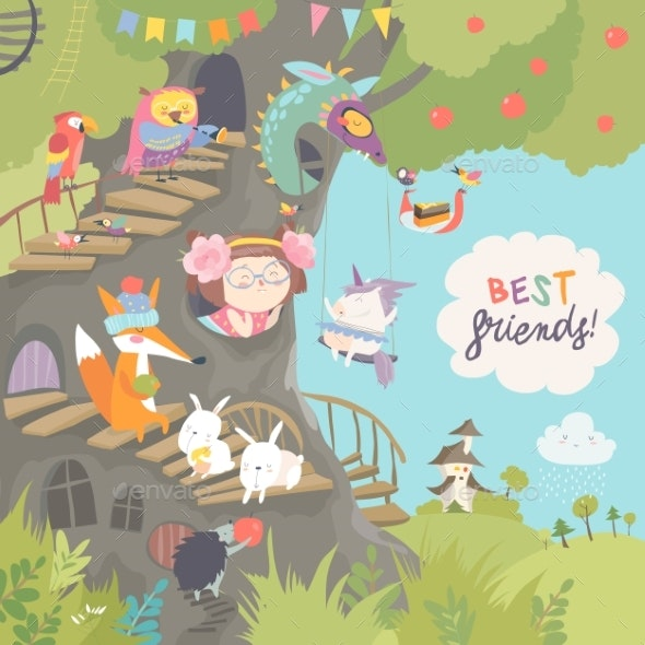 Treehouse with Little Girl and Animals - Animals Characters
