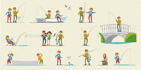 Colorful Fishing Elements Collection - People Characters