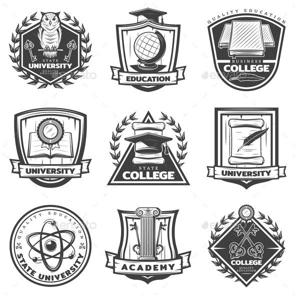 Vintage Monochrome Educational Labels Set - Miscellaneous Vectors