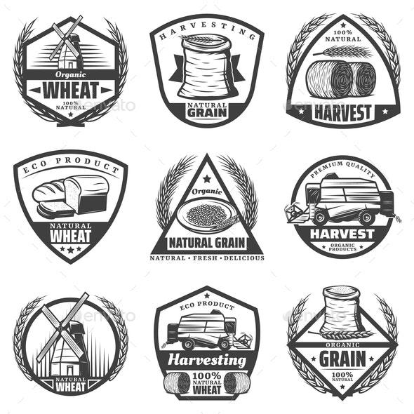 Vintage Monochrome Harvesting Labels Set - Food Objects