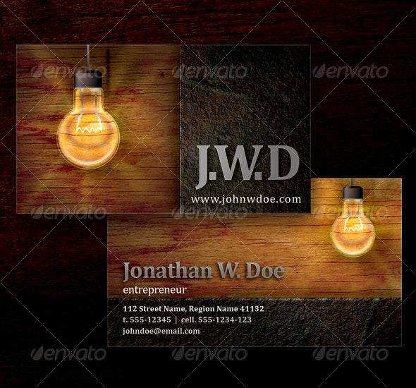 Lightbulb Business Card - Grunge Business Cards