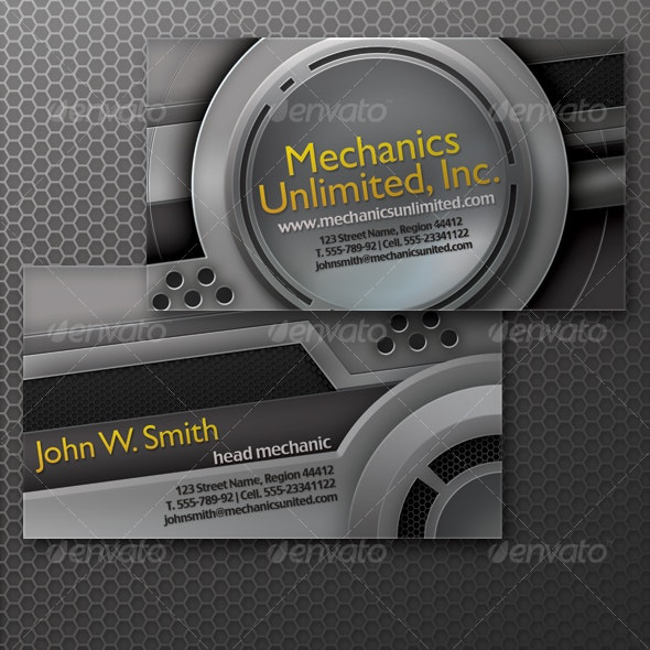 Mecha Industrial Business Card - Industry Specific Business Cards