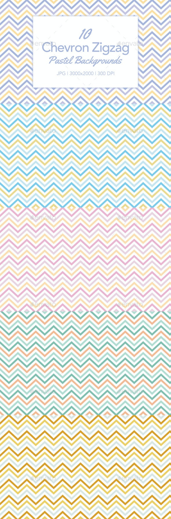 10 Chevron Zigzag Backgrounds in Pastel Colors - Abstract Backgrounds