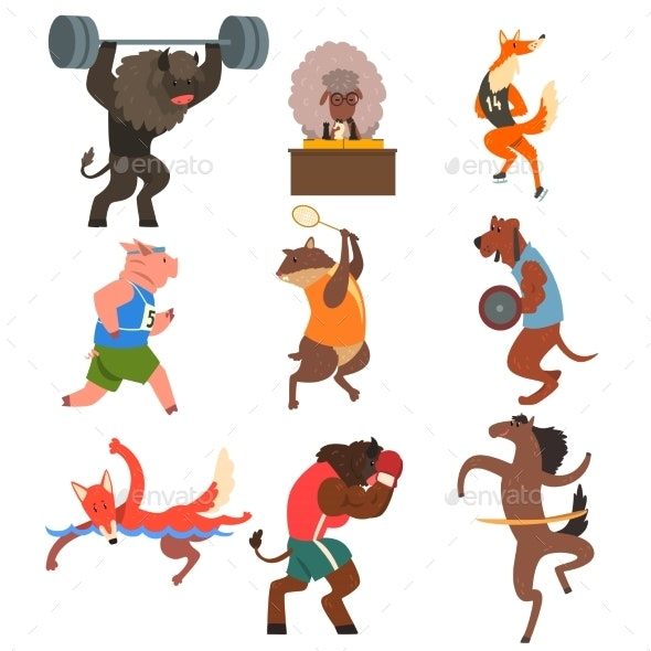 Animals Doing Exercise in the Gym - Sports/Activity Conceptual