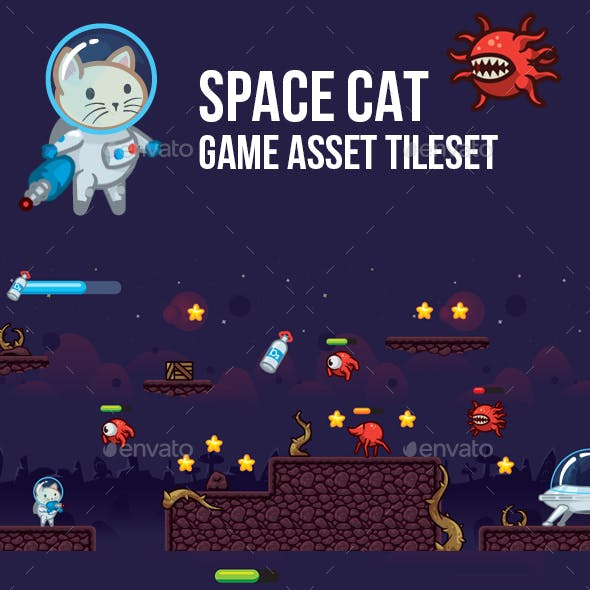 Space Cat Game Asset Tileset