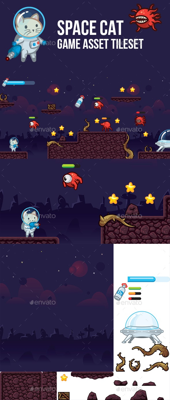 Space Cat Game Asset Tileset - Game Kits Game Assets