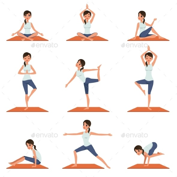 Set with Young Girl in Different Poses of Yoga - Sports/Activity Conceptual