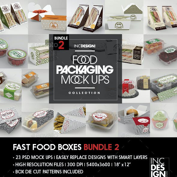 Fast Food Boxes Mock Up Bundle 2