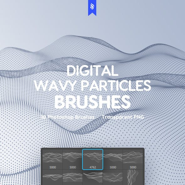 Digital Wavy Particles Photoshop Brushes